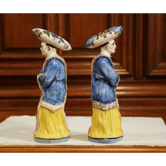 19th Century French Hand-Painted Ceramic Bar Figurines or Pitchers - a Pair For Sale In Dallas - Image 6 of 9
