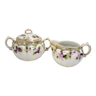 Antique Nippon Porcelain Creamer & Sugar Bowl Set - A Pair