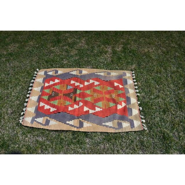Turkish Traditional Handwoven Anatolian Nomadic Rustic Style Oushak Kilim Rug For Sale - Image 4 of 13