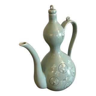 Vintage Korean Celadon / Greenware Water Jug / Pitcher For Sale