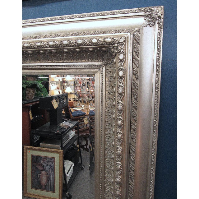 """Traditional 89"""" High Silver Gilded Beveled Glass Floor Mirror For Sale - Image 3 of 12"""