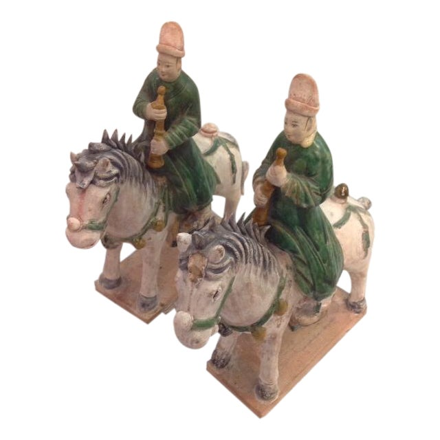 Antique Glazed Pottery Riders - Pair - Image 1 of 5