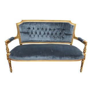 French Louis XVI Style Tufted Velvet Sofa For Sale