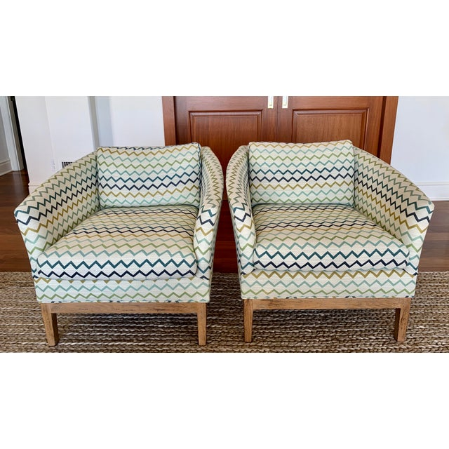 Beige Lee Industries Upholstered Club Chairs -a Pair For Sale - Image 8 of 8