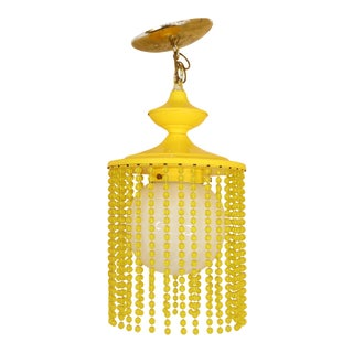 Vintage 1970s Mid Century Modern Beaded Hanging Lamp in Yellow For Sale