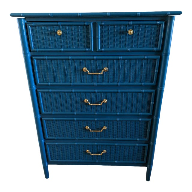 1970s Dixie Faux Bamboo Highboy For Sale