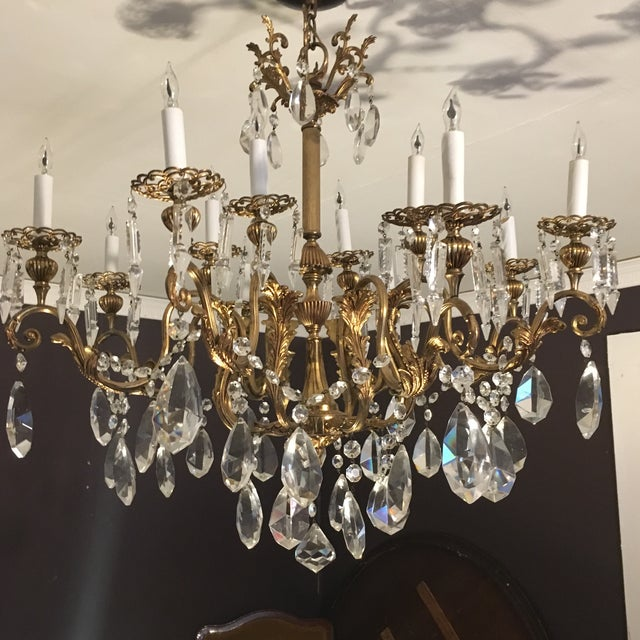 20th Century Hand Cut Lead Crystal Chandelier For Sale - Image 11 of 11