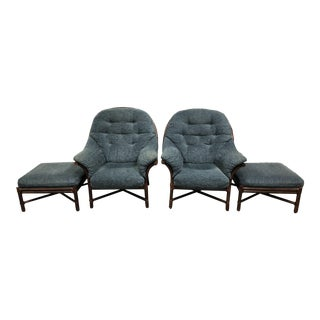 McGuire Big Boy Chair + Ottoman in Kravet Fabric- a Pair For Sale