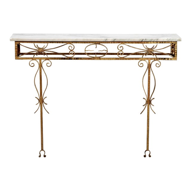Spanish Wall Hung Console with Gilt Metal and Marble Top - Image 1 of 8