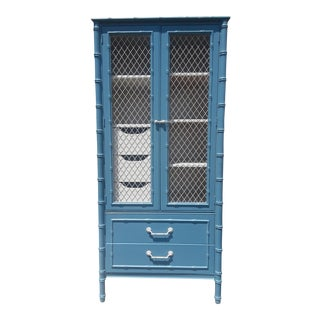 Thomasville Allegro Chinoiserie Style Faux Bamboo Armoire For Sale