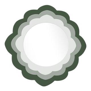 Fleur Home x Chairish Audobon Magnolia Circle Mirror in Duck Green, 30x30 For Sale