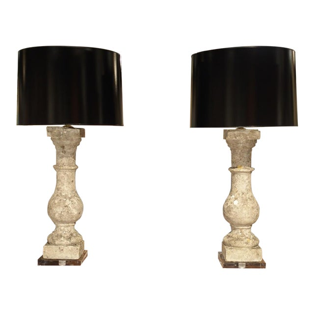 Pair of Antique French Re-Constituted Stone Baluster Lamps on Acrylic Bases For Sale - Image 12 of 12