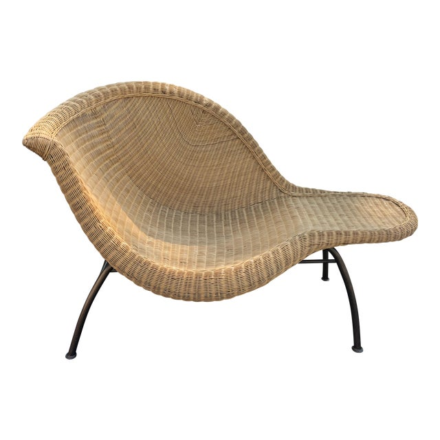Vintage Modern Wicker Chaise Lounge For Sale