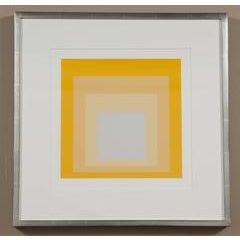Josef Albers Homage to the square from Formations: Articulation 1972. Silkscreen prints floated in silver gilt frame using...