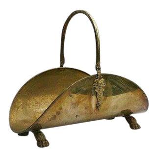 1920s Antique Brass Firewood Holder For Sale