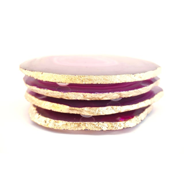 Pink Gold Trim Magenta Hot Pink Agate Slice Coasters & Caddy | High Quality Natural Brazilian Sliced Agate | Set of 4 For Sale - Image 8 of 13