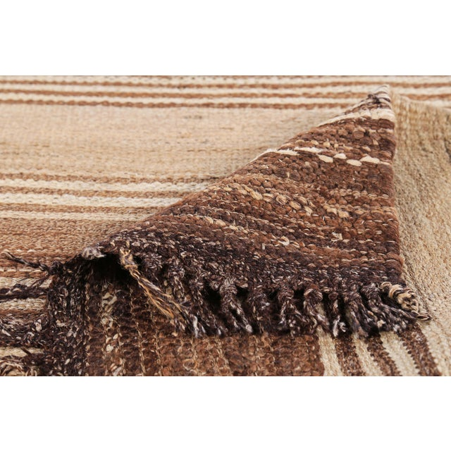 2010s Turkish Kilim Rug With Brown Stripes on Beige Field For Sale - Image 5 of 8