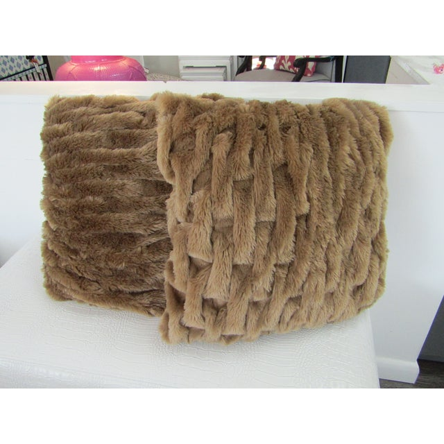 Traditional Faux Fur Woven Accent Pillows - A Pair For Sale - Image 3 of 3