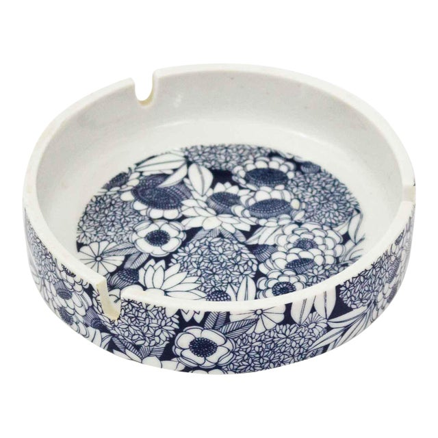 Blue & White Floral Ashtray For Sale