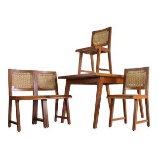 Articulate Woven Mid Century Dining Set in Teak With Glass Top Table For Sale