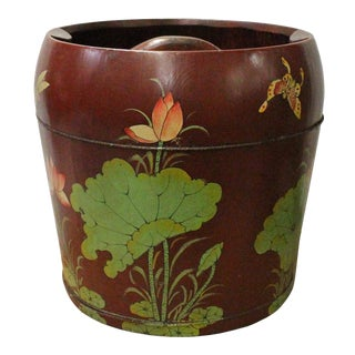 Chinese Red Flower Butterflies Round Large Wood Bucket For Sale