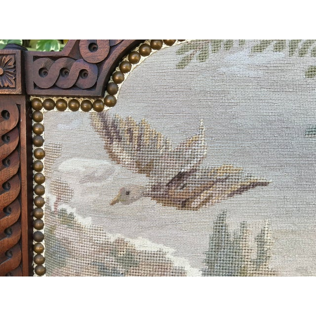 19th-Century Needlepoint Fire Screen For Sale - Image 4 of 9