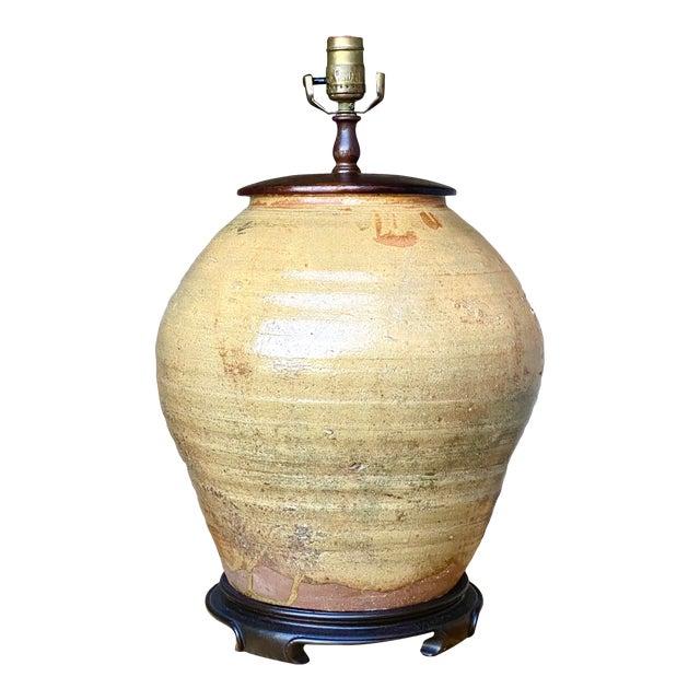 Boho Glazed Pottery Table Lamp For Sale