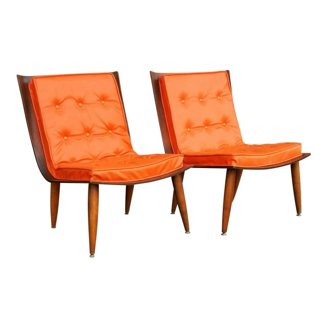 Mid-Century Bentwood Upholstered Carter Brothers Scoop Chairs- A Pair For Sale