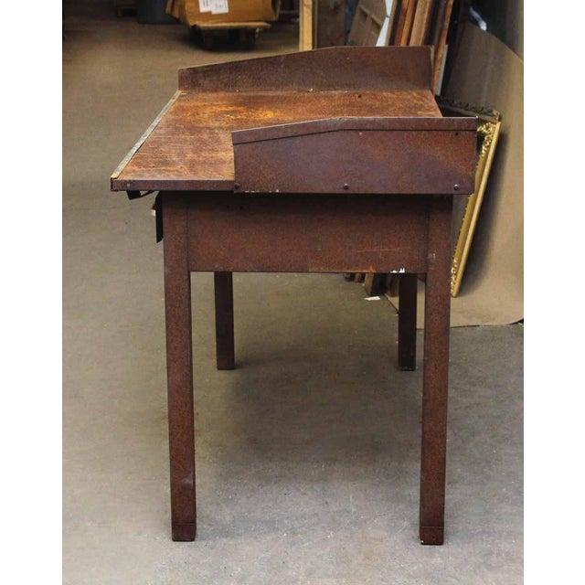 Rusted Metal Industrial Desk - Image 7 of 9