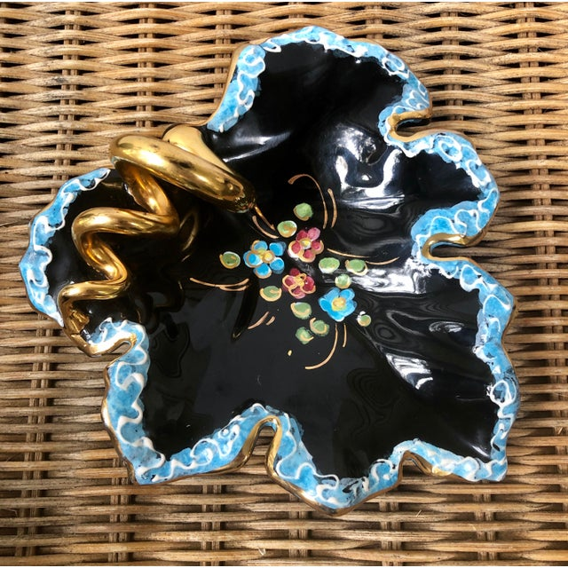 What a find! This structural ceramic trinket dish is of a wine leaf and coil, straight from Italy! It is glazed in black...
