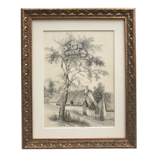 Antique 19th Century French Landscape Drawing of a Tree and Cottage C.1847 For Sale