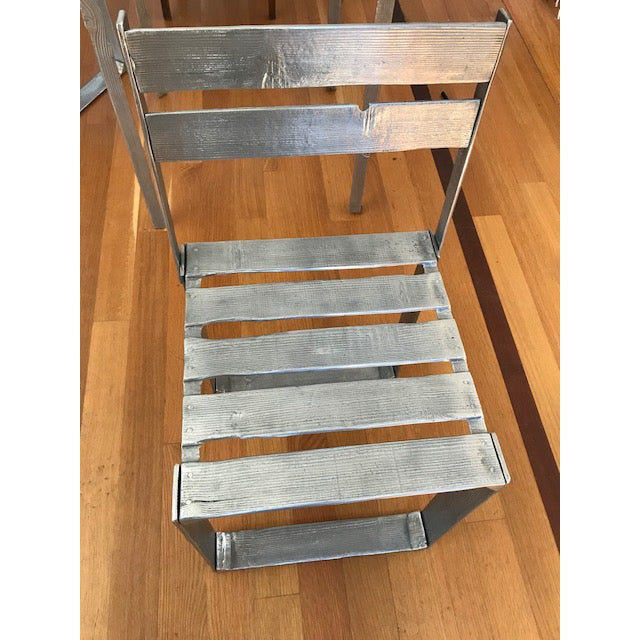 Aluminum Ortofrutta Table and Chairs by Andrea Salvetti For Sale - Image 7 of 9