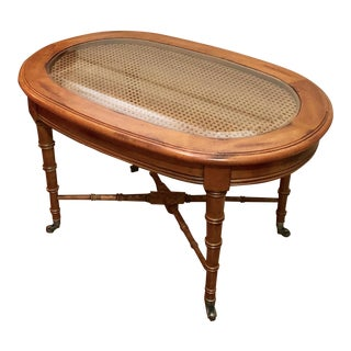 1970s Chinoiserie Faux Bamboo Coffee/Cocktail Table For Sale