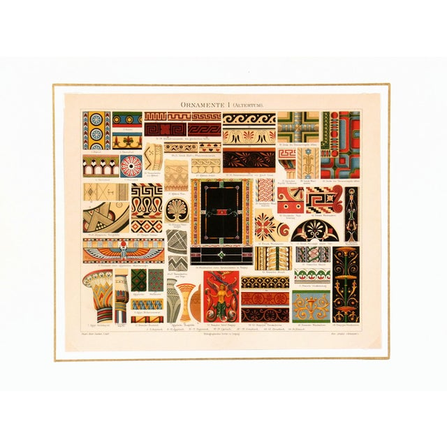 Abstract Interior Designs Stone Lithograph C.1896 For Sale - Image 3 of 4