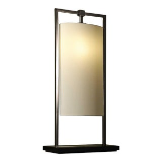 Contardi Athena Black Nickel Table Lamp W/ Percaline Shade For Sale