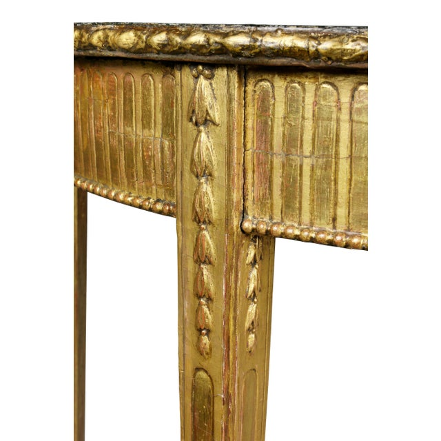 Wood George III Giltwood Demilune Console Table For Sale - Image 7 of 9