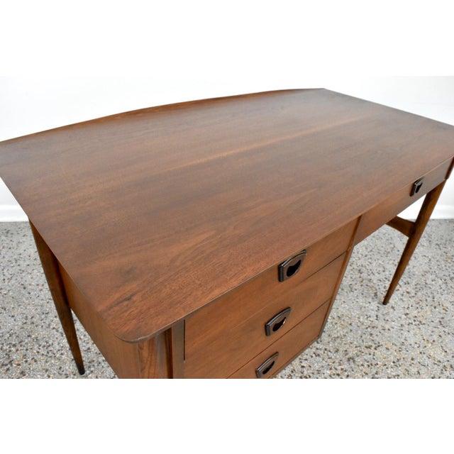 Mid-Century Bassett Artisan Walnut Pedestal Desk For Sale - Image 9 of 10