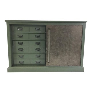 Green Sliding Door Console For Sale
