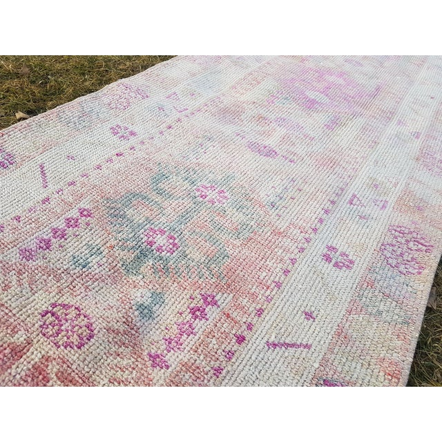 "Distressed Turkish Oushak Runner Rug - Low Pile Herki Rug 2'7"" X 13'4"" For Sale - Image 9 of 13"