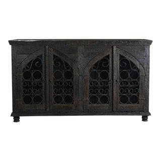 Four Door Mango Wood & Iron Sideboard for Living Room