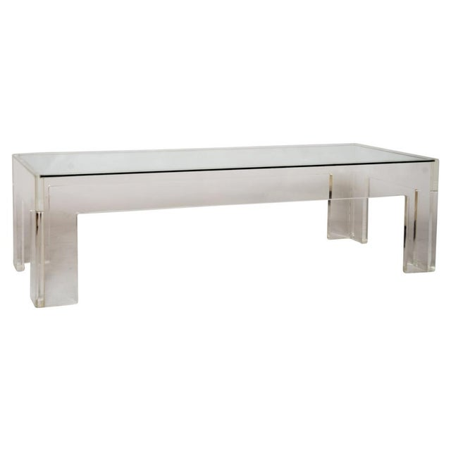 1970s Parson-Style Lucite Coffee Table - Image 1 of 5