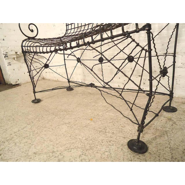Decorative Wrought Iron Bench For Sale - Image 4 of 7