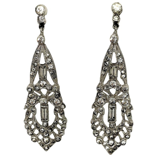 1920s Clear Faceted Stone Dangling Earrings For Sale