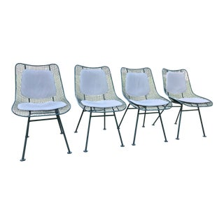 1960s Modern Russell Woodard Tiffany Blue Enamel Dining Chairs - Set of 4 For Sale