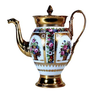 Paris Porcelain Botanical Coffee Pot and Cover For Sale