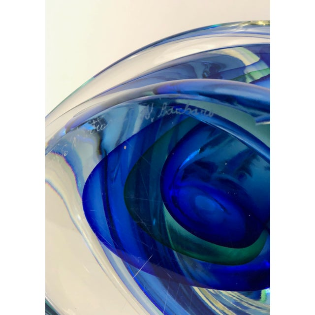 Late 20th Century Murano Glass Blue and Green Crystal Twisted Vase by Alessandro Barbaro For Sale - Image 5 of 6