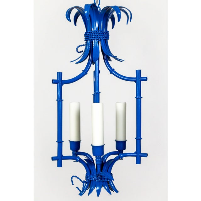 Metal Palm Beach Style Blue Faux Bamboo Lanterns, Mid Century, Pair For Sale - Image 7 of 13