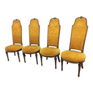 1970s Hollywood Regency High Back Velvet Dining Chairs - Set of 4 For Sale