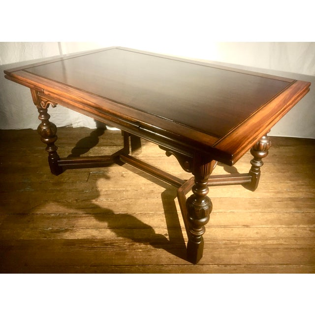 """62""""-96"""" Jacobean Dining Table With Breadboard Extensions For Sale - Image 11 of 12"""