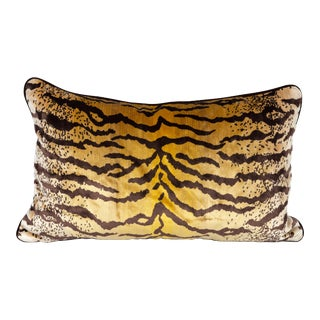 Velvet and Silk Tiger Lumbar Pillow For Sale